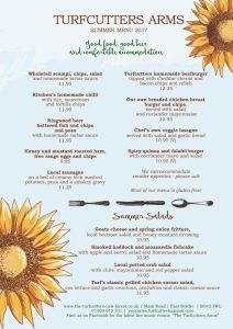 Turfcutters Arms summer menu page one
