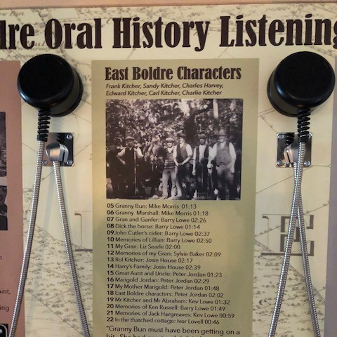 East Boldre oral history project listening station at the Turfcutters Arms
