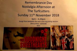 Armistice Day Singalong at the Turfcutters 11 November 3-6.60 pm