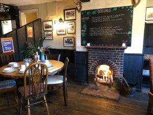 The cosy fireside at the Turfcutters Arms East Boldre