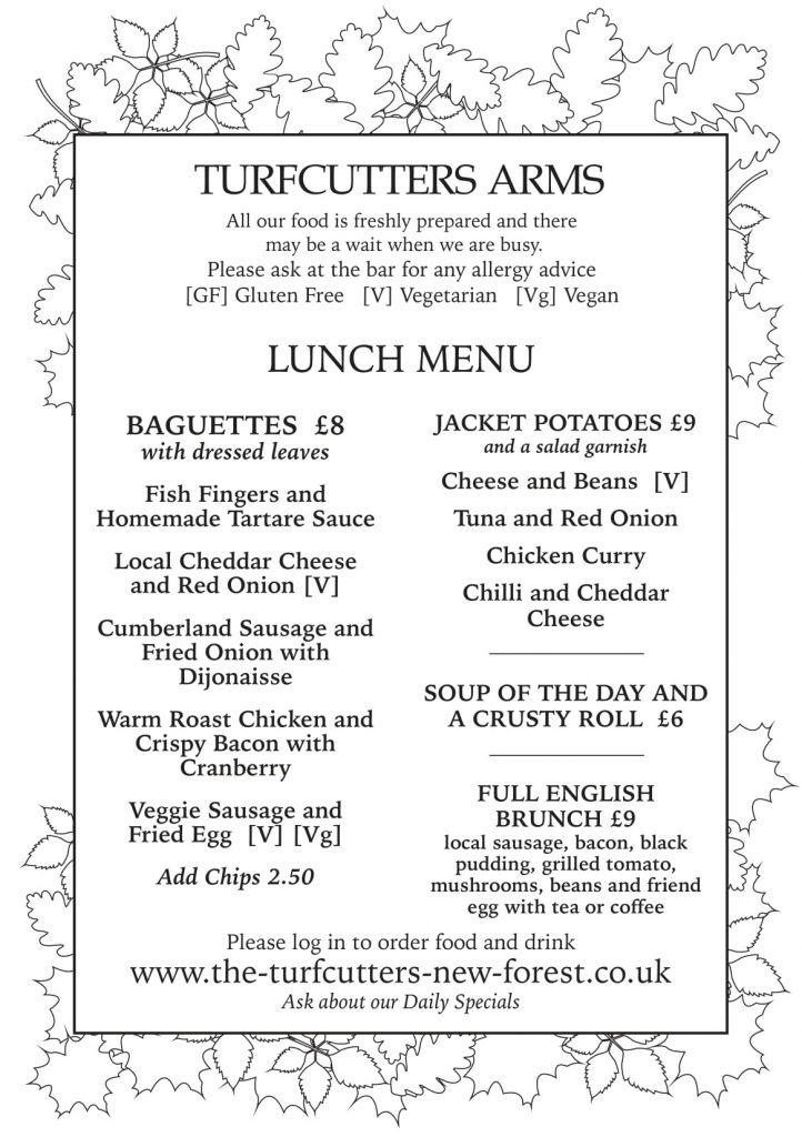 Turfcutters lunch menu