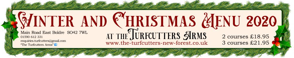 Winter and Christmas menu at the Turfcutters Arms