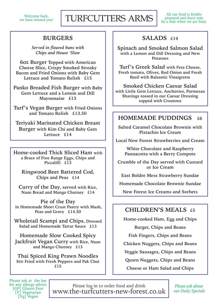 Spring menu at the Turfcutters Arms East Boldre page 1