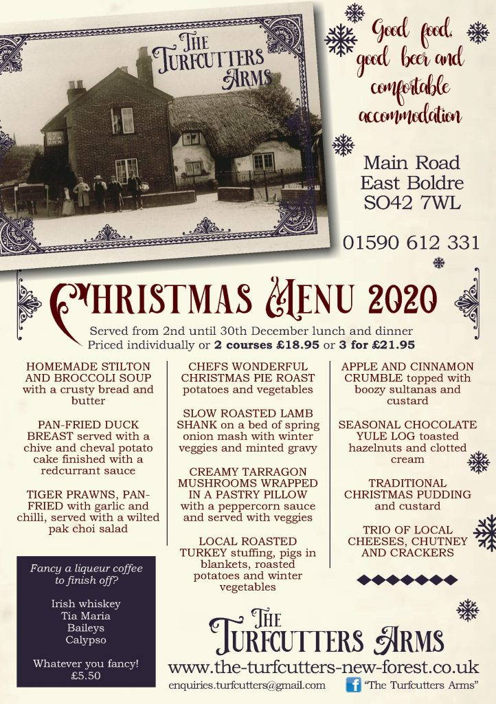 Christmas menu 202 at the Turfcutters Arms