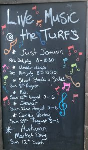 Turfcutters live music late summer 2021